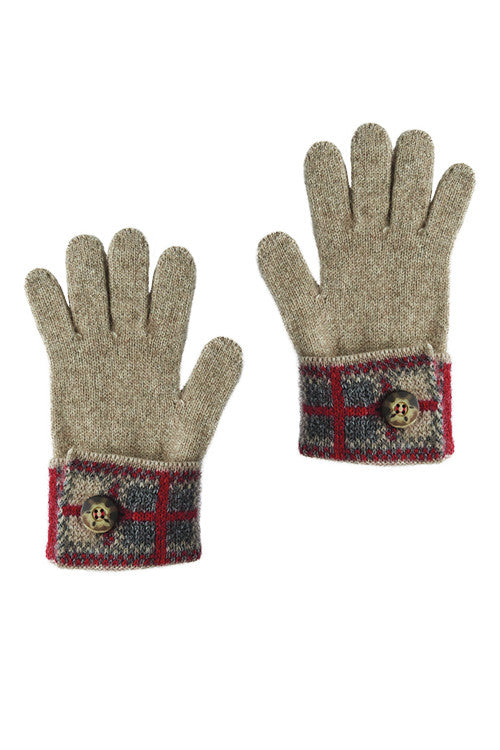 Possum Merino Tartan Glove Mocha Pewter Red