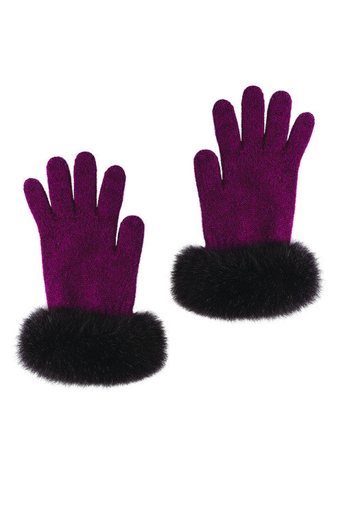 Possum Merino Fur Trim Glove Berry