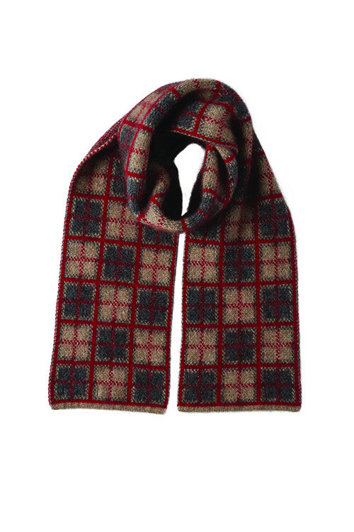 Possum Merino Tartan Scarf Mocha Pewter Red