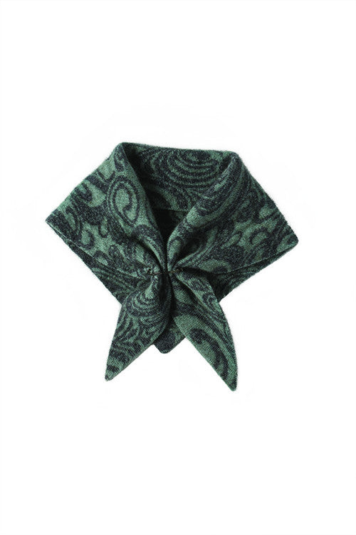 Possum Merino Paisley Neck Scarf Mint Charcoal