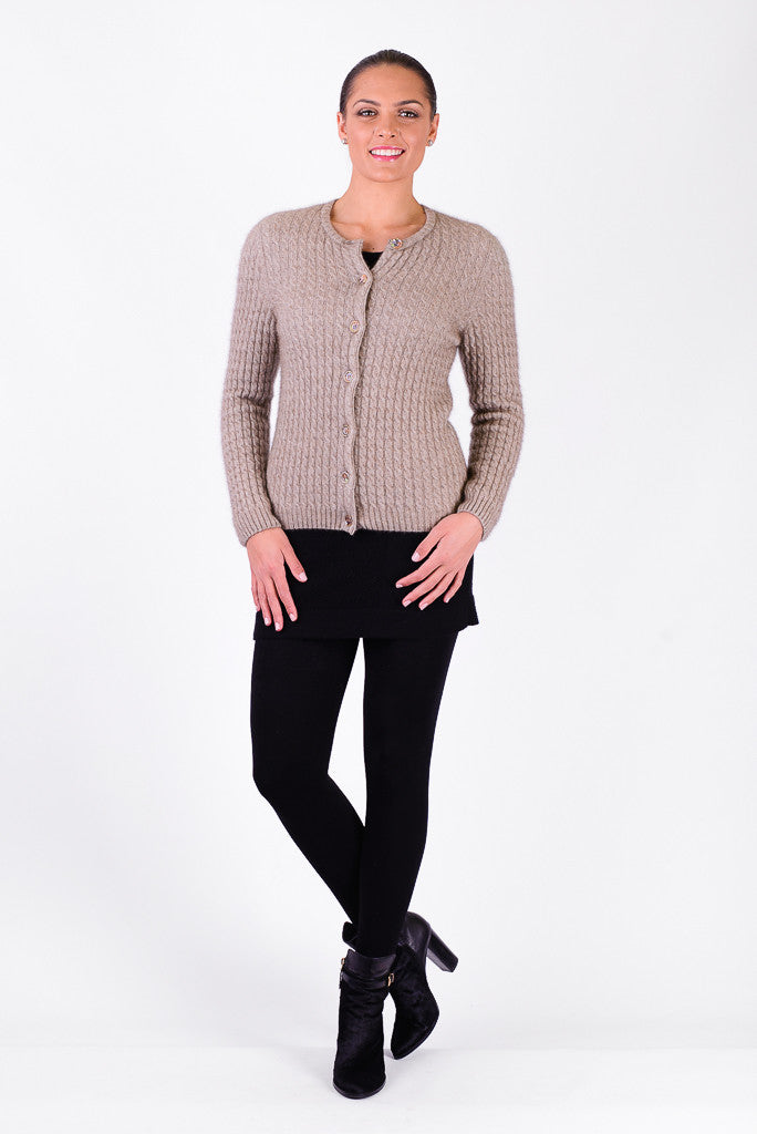 Possum Merino Cable Cardigan with Buttons