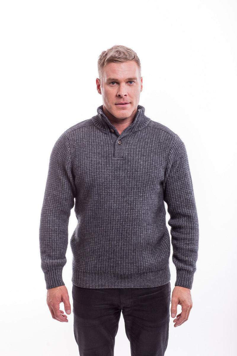 Possum Merino Placket Jumper with Buttons
