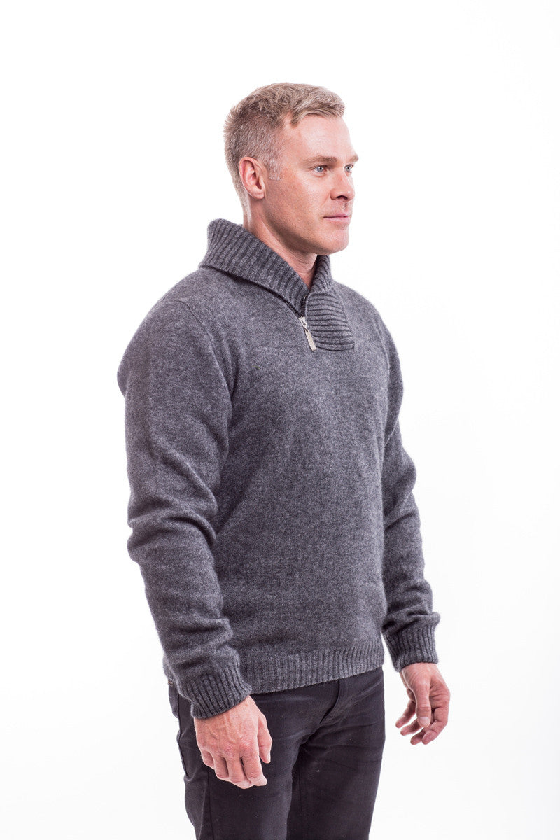 Possum Merino Shawl Collar Sweater with Short Zip