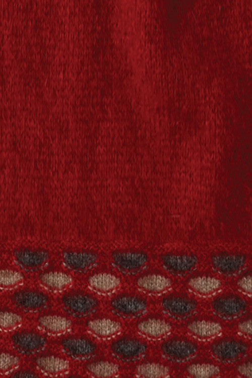 Possum Merino Wave Trim Scarf Red