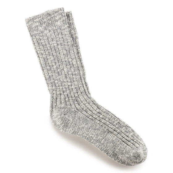 Sock Cotton Slub : Gray/White
