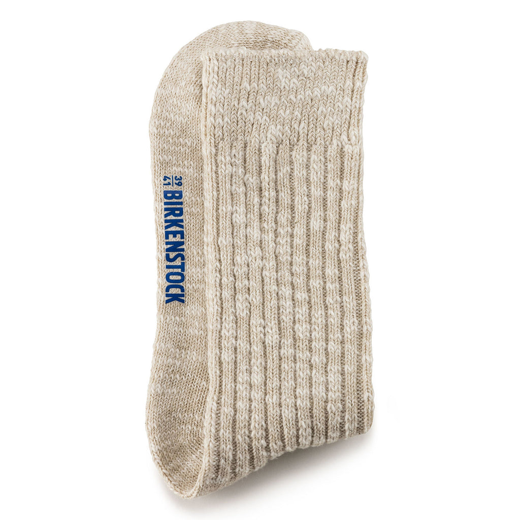 Sock Cotton Slub : Beige/White
