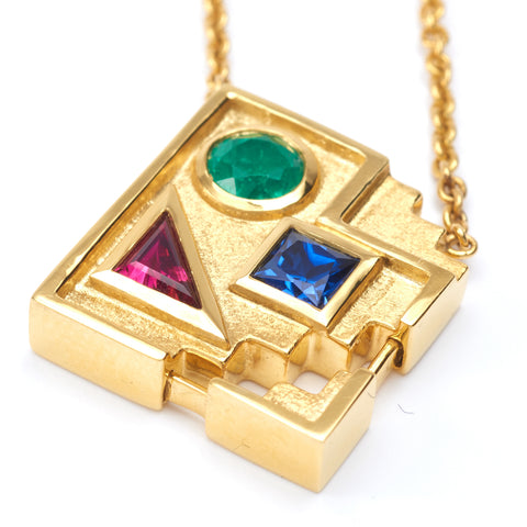 Broken Image Icon Gold Pendant