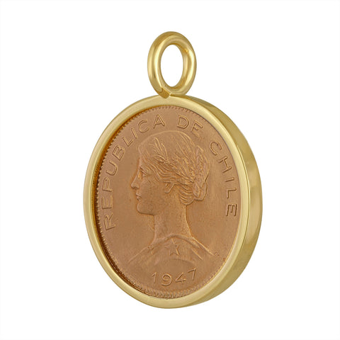 Chile 100 Peso Gold Coin Pendant