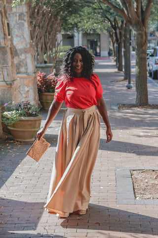 khaki maxi skirt with tie belt Gracia NY