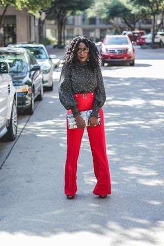red wide leg pants with gold belt buckle Gracia NY