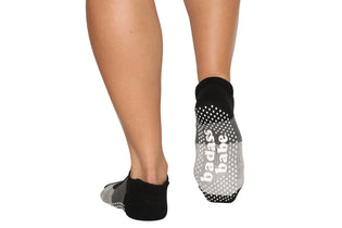 Badass Babe Tri Gray Mary Jane Ankle Socks - BarreSocks