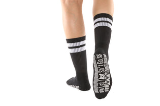 Go With The Flow/ Let That Sh*t Go Black Mid-Calf High - BarreSocks