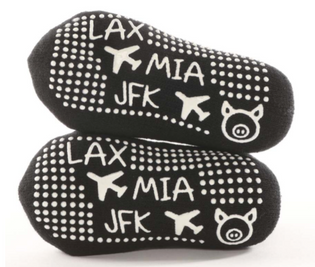 LAX MIA JFK Black Toddler - BarreSocks
