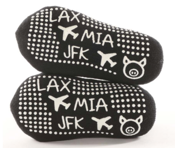 LAX MIA JFK Black Tot - BarreSocks