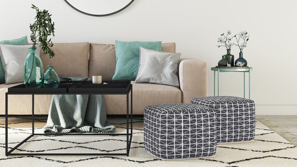 Noreen Pouf in Slate Grey, Monet End Table and Garner Coffee Table