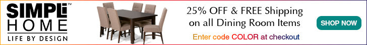 Simpli Home Dining Room Sale! Get 25% Off plus Free Shipping. Enter code COLOR at checkout