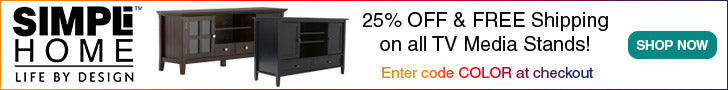 25% Off on Solid Wood TV Media Stands plus Free Shipping at Simpli-Home.com! Enter code COLOR at checkout