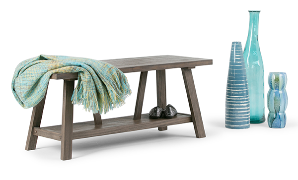 Dylan 48 inch Entryway Bench in Driftwood Finish