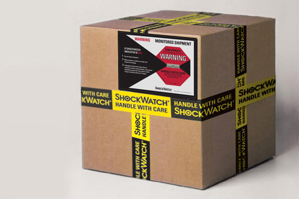 Package with ShockWatch label