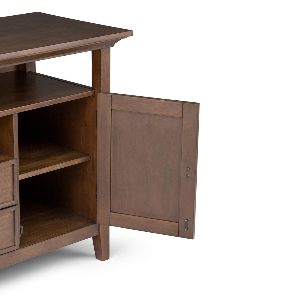 Redmond 54 Inch Tall Tv Media Stand In Rustic Natural Aged Brown For