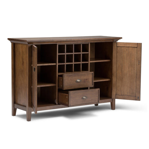 Rustic Natural Aged Brown | Redmond 54 inch Sideboard Buffet & Winerack