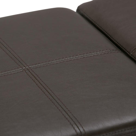 Chocolate Brown PU Faux Leather | Avalon Linen Look Storage Ottoman with Three Trays