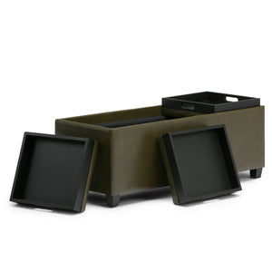 Deep Olive Green PU Faux Leather | Avalon Storage Ottoman in Deep Olive Green Faux Leather