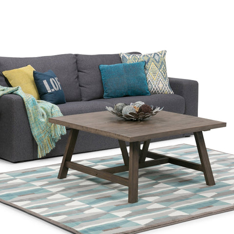 Dylan 36 Inch Square Coffee Table In Driftwood Finish Simpli Home