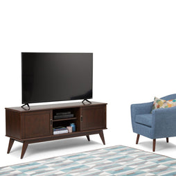Medium Auburn Brown | Draper Mid Century Low TV Media Stand