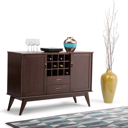 Medium Auburn Brown | Draper Mid Century Sideboard Buffet & Winerack