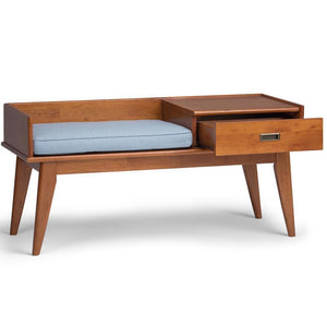 Teak Brown | Draper Mid Century Entryway Storage Bench