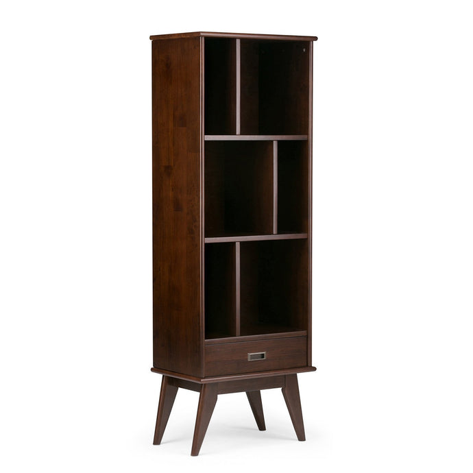 Medium Auburn Brown | Draper Mid Century Bookcase with Storage