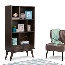 Medium Auburn Brown | Draper Mid Century 64 x 35 inch Wide Bookcase with Storage