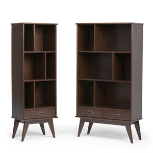 Draper Mid Century 64 x 35 inch Wide Bookcase with Storage