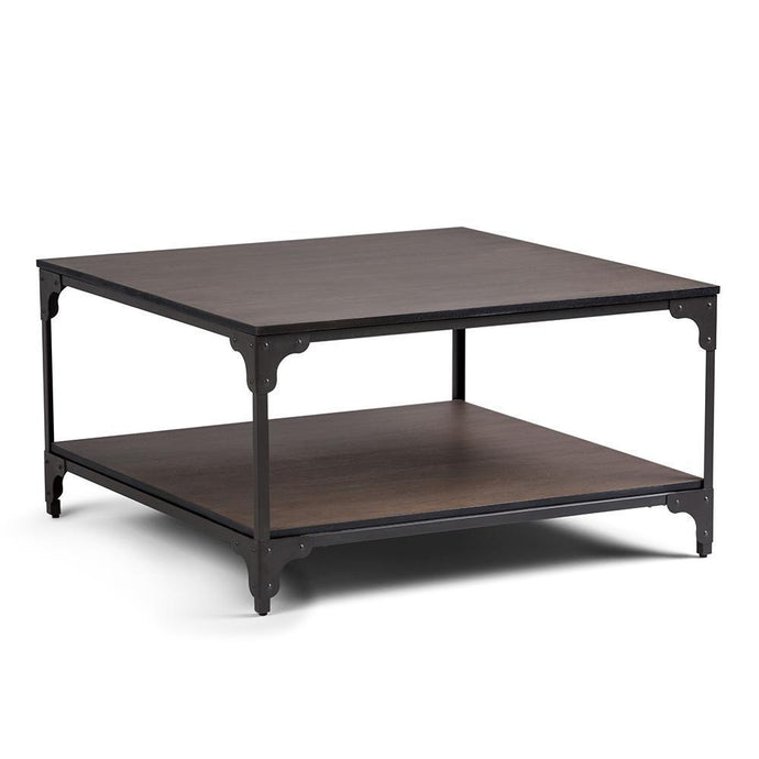 Nantucket 33 inch Square Coffee Table in Walnut Brown