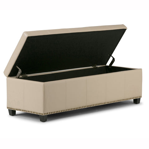 Satin Cream Bonded Leather | Kingsley Bonded Leather Storage Ottoman