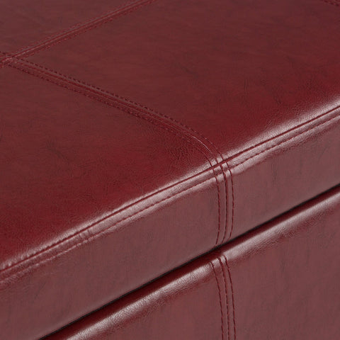 Radicchio Red Bonded Leather | Kingsley Bonded Leather Storage Ottoman