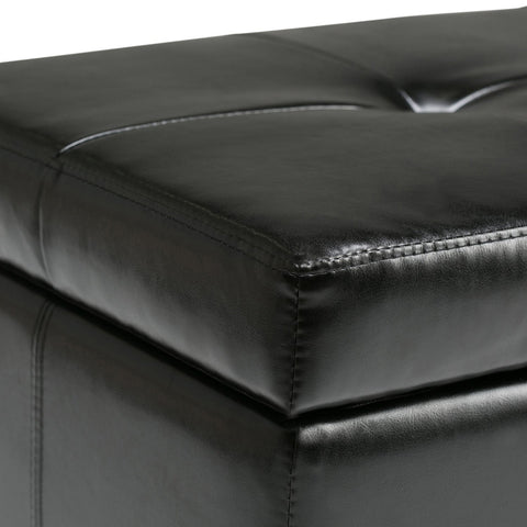 Midnight Black Bonded Leather | Castleford Bonded Leather Storage Ottoman