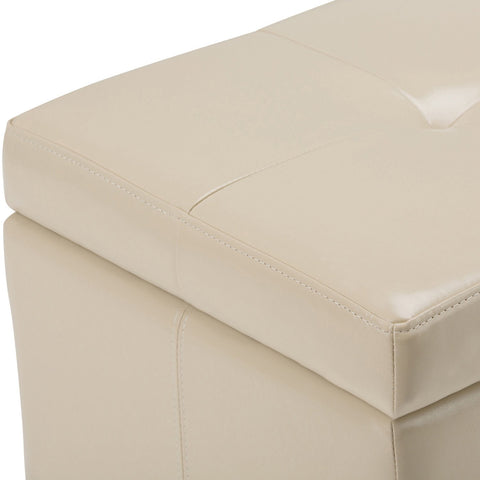 Satin Cream Bonded Leather | Castleford Bonded Leather Storage Ottoman