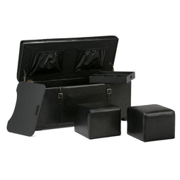 Midnight Black PU Faux Leather | Dorchester 5 piece Faux Leather Storage Ottoman