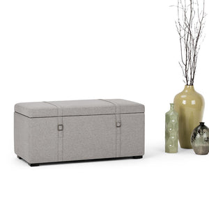 Cloud Grey Look Polyester Fabric | Dorchester 5 piece Linen Look Storage OttomanCloud Grey Look Polyester Fabric | Dorchester 5 piece Linen Look Storage Ottoman