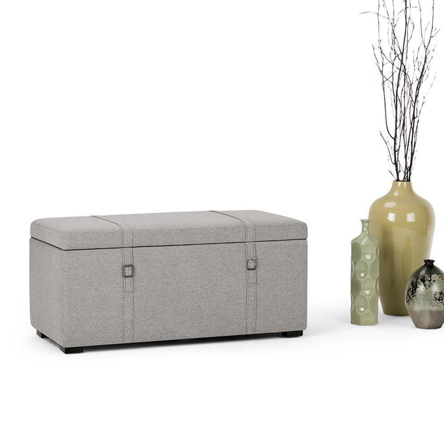 Load image into Gallery viewer, Cloud Grey Look Polyester Fabric | Dorchester 5 piece Linen Look Storage OttomanCloud Grey Look Polyester Fabric | Dorchester 5 piece Linen Look Storage Ottoman