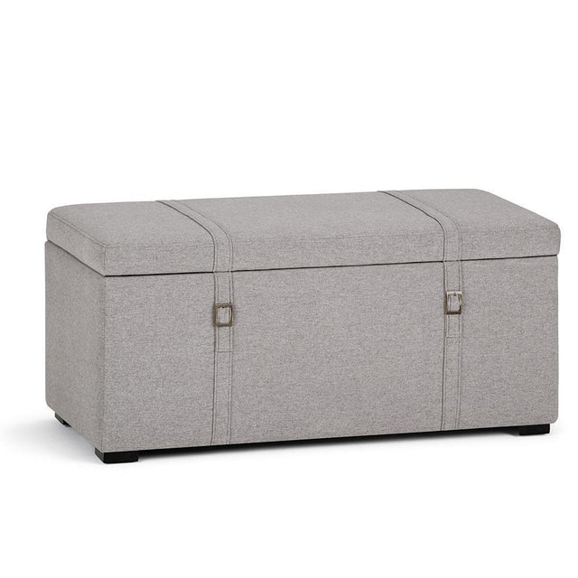 Load image into Gallery viewer, Cloud Grey Look Polyester Fabric | Dorchester 5 piece Linen Look Storage Ottoman