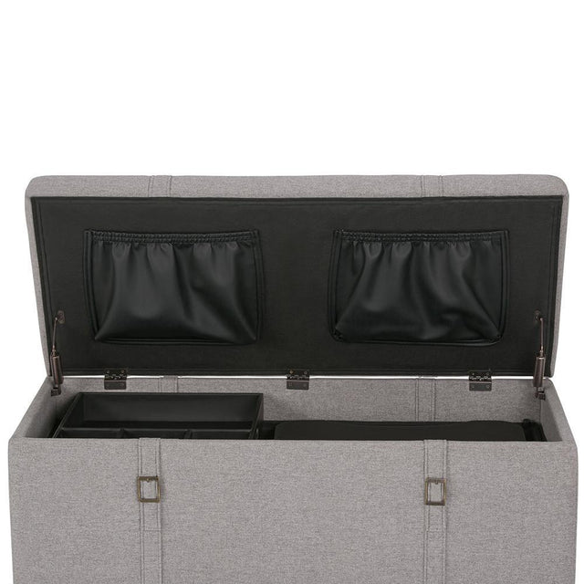 Load image into Gallery viewer, Cloud Grey Linen Look Polyester Fabric | Dorchester 5 piece Linen Look Storage Ottoman