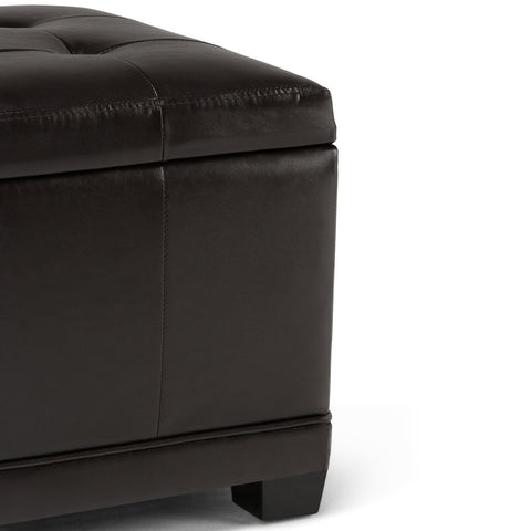 Tanners Brown PU Faux Leather | Westchester Faux Leather Storage Ottoman