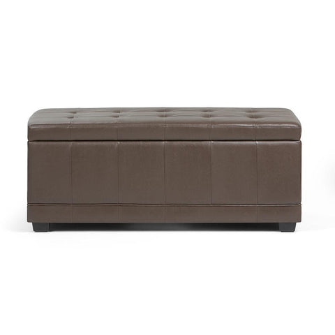 Chocolate Brown PU Faux Leather | Westchester Faux Leather Storage Ottoman