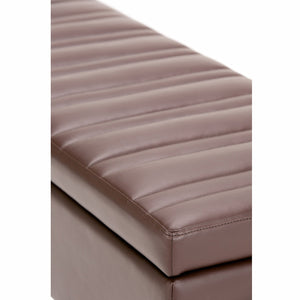 Chocolate Brown | Monroe Storage Ottoman in Faux Leather