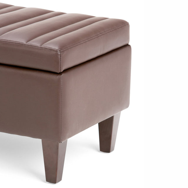 Load image into Gallery viewer, Chocolate Brown | Monroe Storage Ottoman in Faux Leather