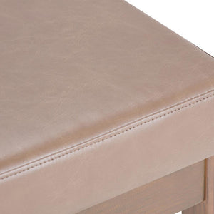 Large Ash Blonde | Milltown 44 inch Large Ottoman Bench in Linen Look Fabric