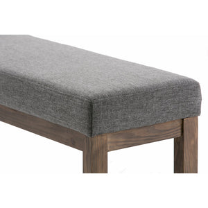 Large Grey | Milltown 44 inch Large Ottoman Bench in Linen Look Fabric in Grey